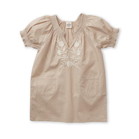 Apolina Pol Embroidered Children's Dress in Biscuit Cotton | BIEN BIEN www.bienbienshop.com