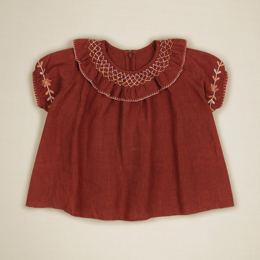 Apolina Mirel Embroidered Kid's Blouse Earth Linen | BIEN BIEN