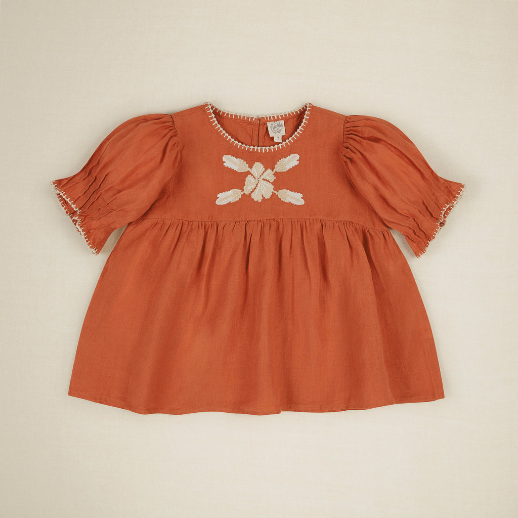 Apolina Rosa Embroidered Kid's Blouse Poppy Linen | BIEN BIEN