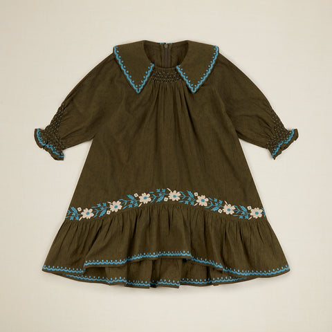 New Apolina Bettina Kid's Embroidered Dress Olive Dobby | BIEN BIEN bienbienshop.com