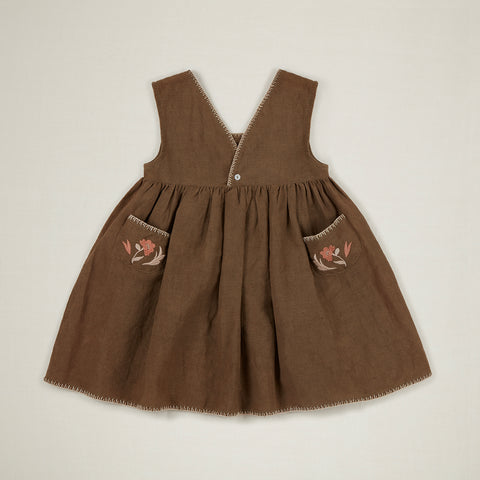 Apolina Celastine Kid's Sleeveless Embroidered Dress Branch Green Linen | BIEN BIEN www.bienbienshop.com