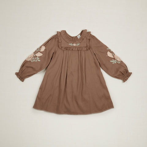 Apolina Diana Embroidered Kid's Dress Fawn/Peach/Mint Cotton | BIEN BIEN www.bienbienshop.com