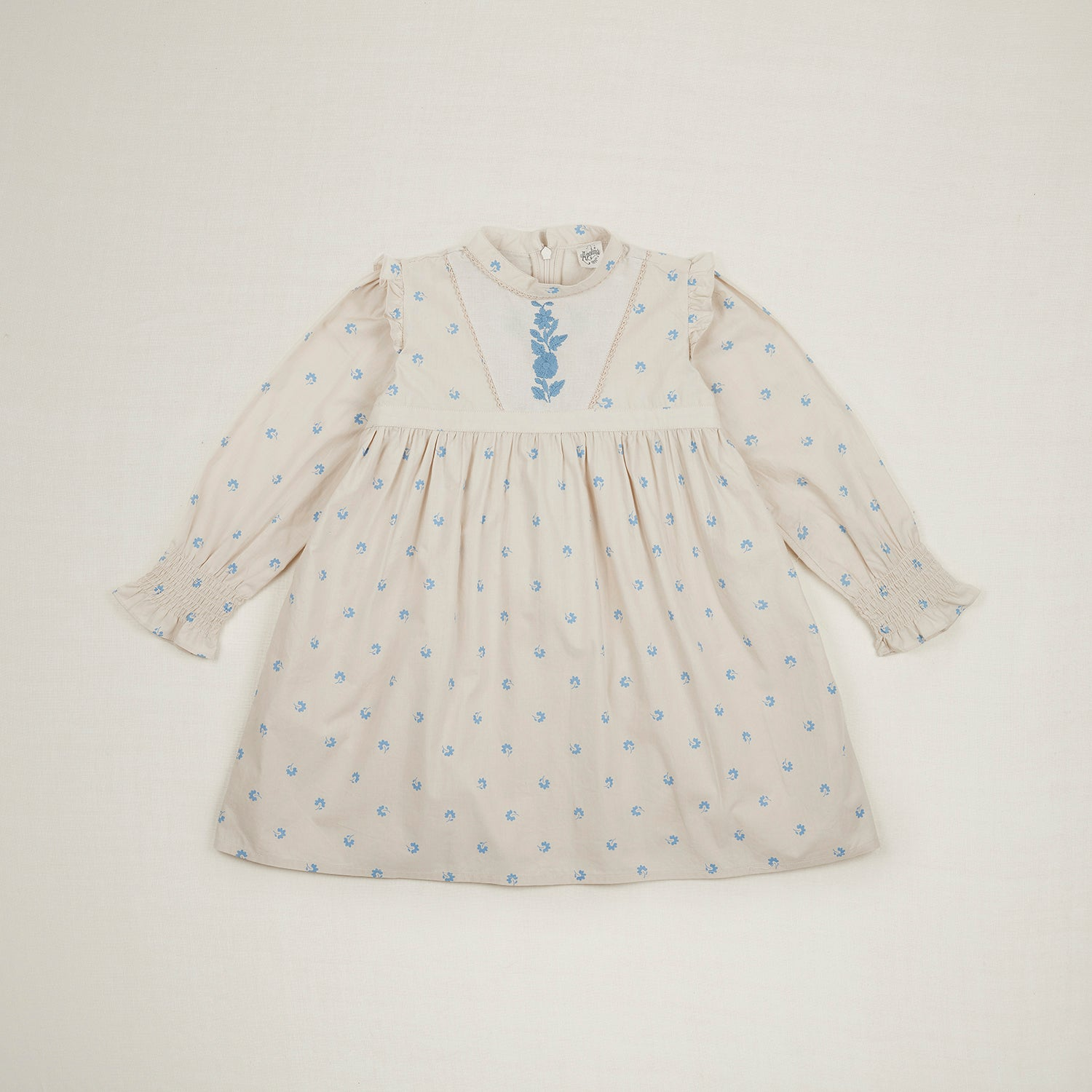 Apolina Janis Embroidered Kid's Prairie Dress Ivory Swedish Blue Bluegrass | BIEN BIEN www.bienbienshop.com