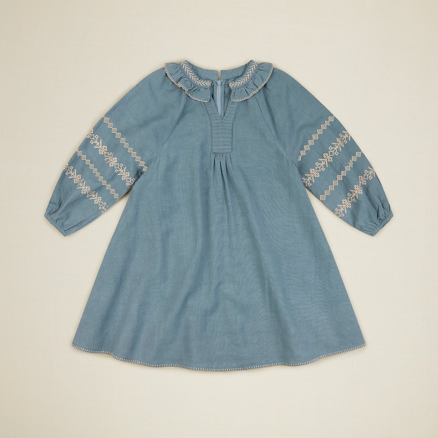 New Apolina Lucille Kid Embroidered Cotton Dress Blue Stone BIEN BIEN bienbienshop.com