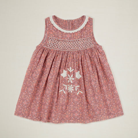 Apolina Maren Kid's Embroidered Sleeveless Sundress Dark Quilt Print | BIEN BIEN www.bienbienshop.com