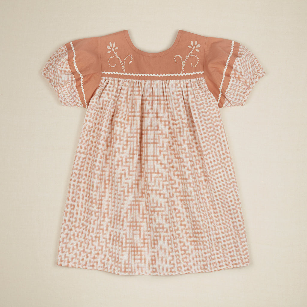 Apolina Tina Kid's Short Sleeve Paneled Dress Picnic Check | BIEN BIEN bienbienshop.com