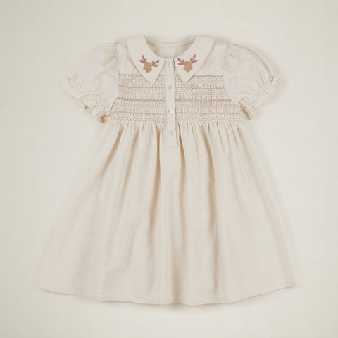 Apolina Minnie Kid's Smocked Dress Ivory Ivory Cotton | BIEN BIEN www.bienbienshop.com