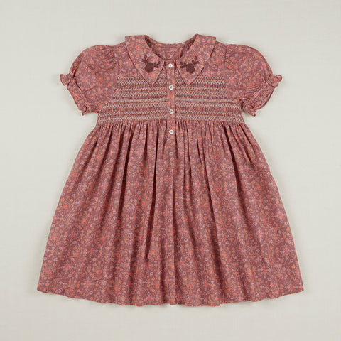 Apolina Minnie Kid's Smocked Dress Dark Quilt Floral Cotton | BIEN BIEN www.bienbienshop.com