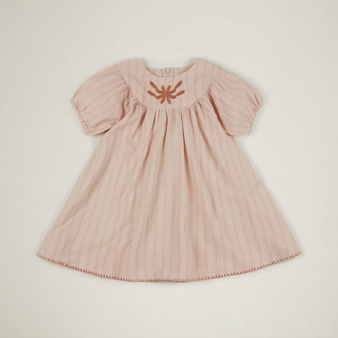 Apolina Muriel Kid's Short Sleeve Dress Pink Tea Stripe | BIEN BIEN www.bienbienshop.com