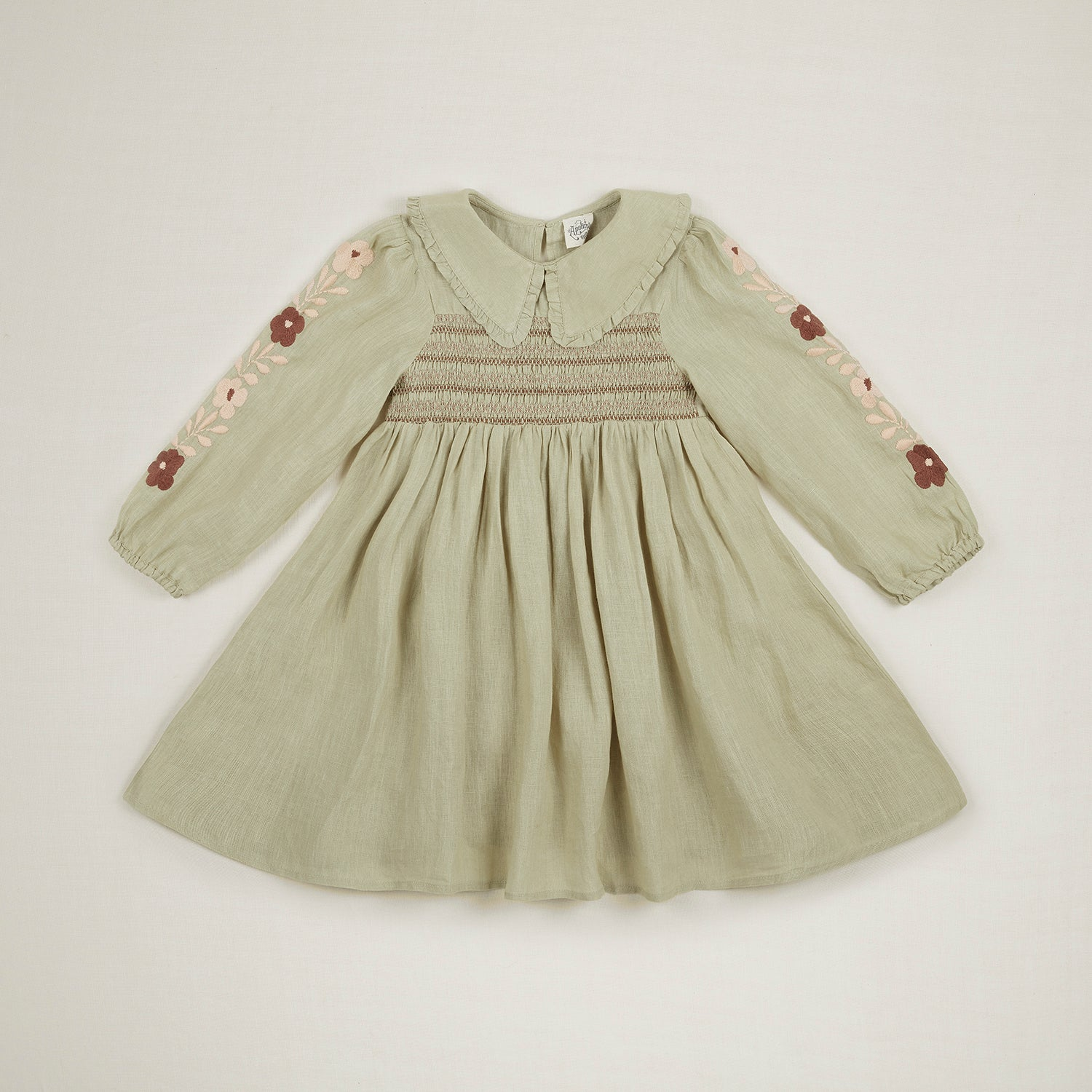 Apolina Nancy Collared Embroidery Kid's Dress Alpine Mint Pistachio Green Linen | BIEN BIEN www.bienbienshop.com