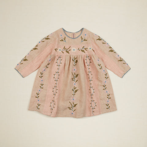 New Apolina Pascale Kid's Embroidered Quilt Dress Linen Pink Sand BIEN BIEN bienbienshop.com