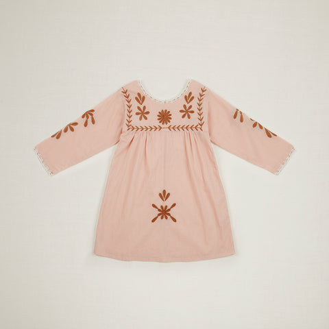 Apolina Penelope Embroidered Kid's Tunic Dress Carnation Pink Cotton | BIEN BIEN www.bienbienshop.com