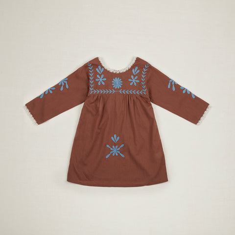 Apolina Penelope Embroidered Kid's Tunic Dress Nut Brown Swedish Blue Cotton | BIEN BIEN www.bienbienshop.com