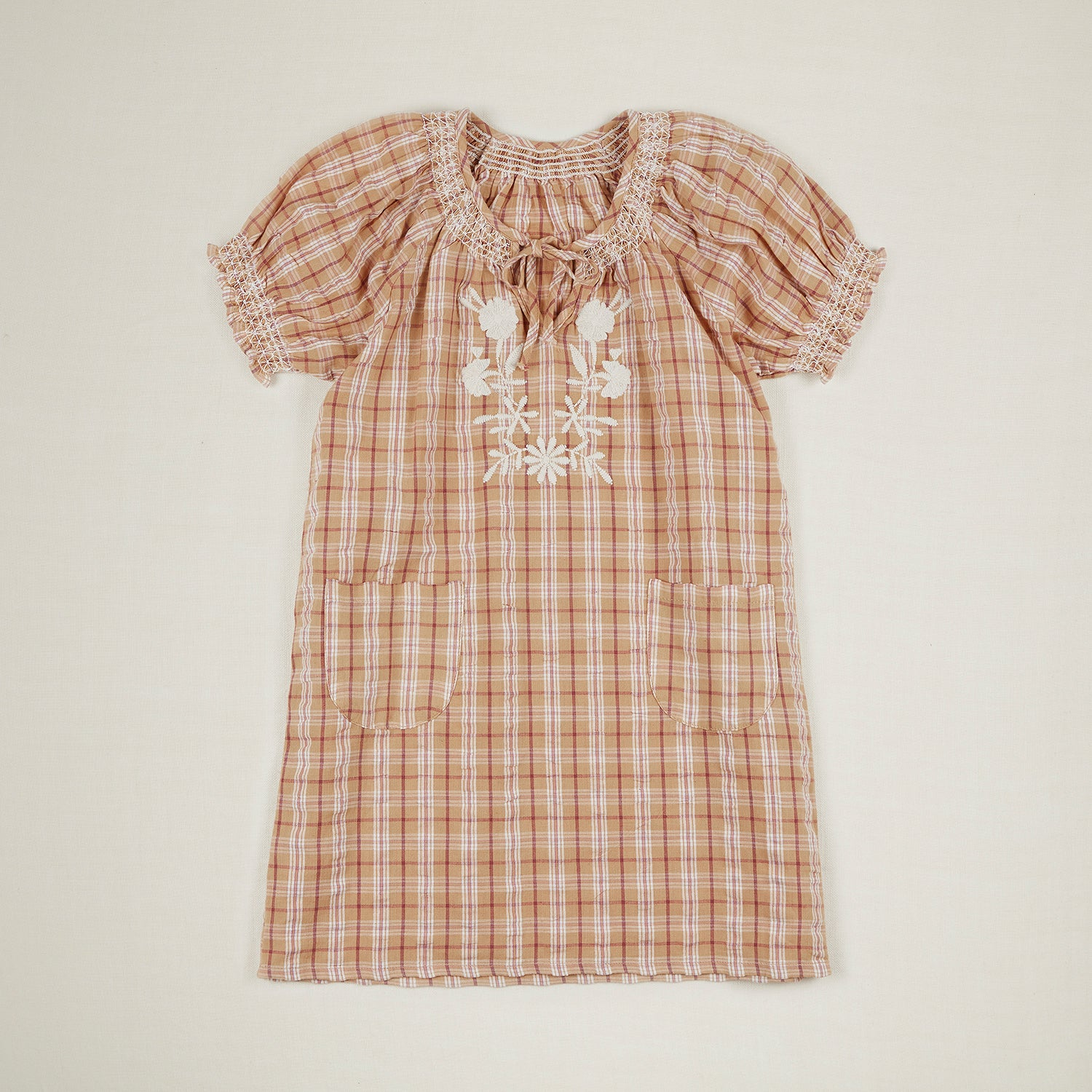 Apolina Pol Kid's Embroidered Short Puff Sleeve Dress Hay Farm Check | BIEN BIEN www.bienbienshop.com