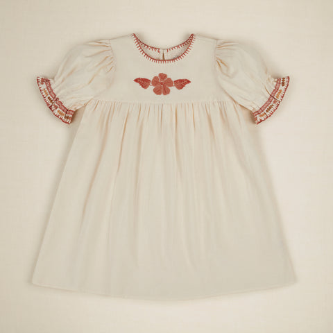 Apolina Primrose Kid's Short Sleeve Embroidered Hand Crocheted Dress Ivory Cotton | BIEN BIEN bienbienshop.com