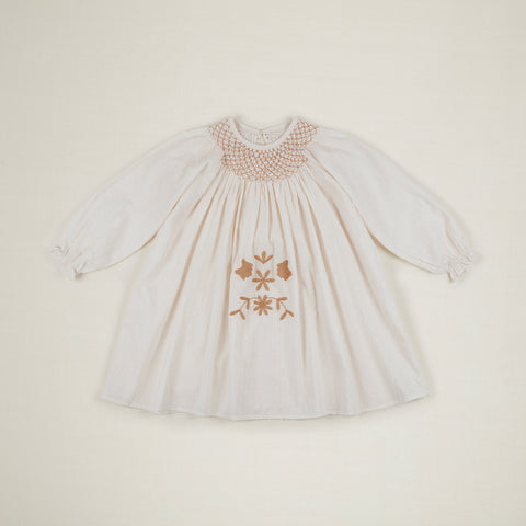 Apolina Sissy Kid's Smocked Swing Dress Ivory Dobby Spot Cotton | BIEN BIEN www.bienbienshop.com