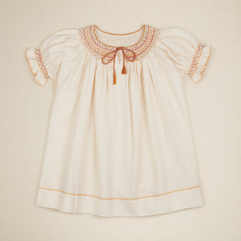 Apolina Vernaa Kid Short Sleeve Dress Ivory Rainbow Cotton | BIEN BIEN bienbienshop.com