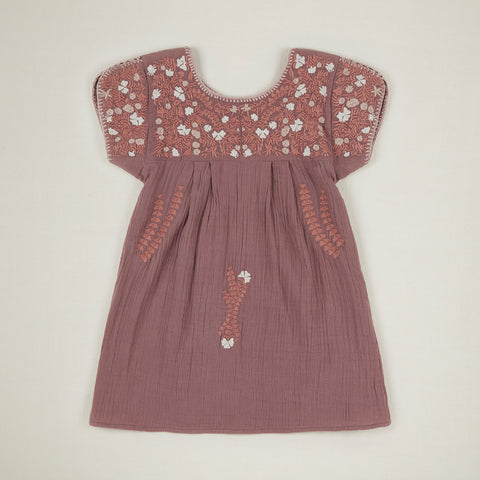 Apolina Stevie Kid's Embroidered Short Sleeve Dress Slip Mauve | BIEN BIEN www.bienbienshop.com