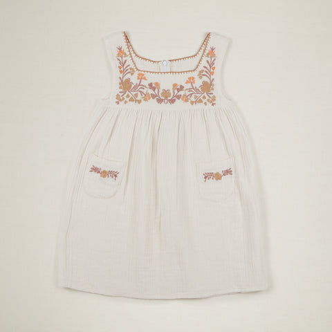 Apolina Tabitha Kid's Sleeveless Dress Ivory Crinkle Gauze Cotton | BIEN BIEN www.bienbienshop.com