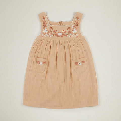 Apolina Tabitha Kid's Sleeveless Dress Hay Peach Crinkle Double Gauze Cotton | BIEN BIEN www.bienbienshop.com
