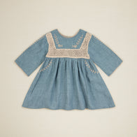 New Apolina Tara Kid Crocheted Linen Dress Blue Stone BIEN BIEN