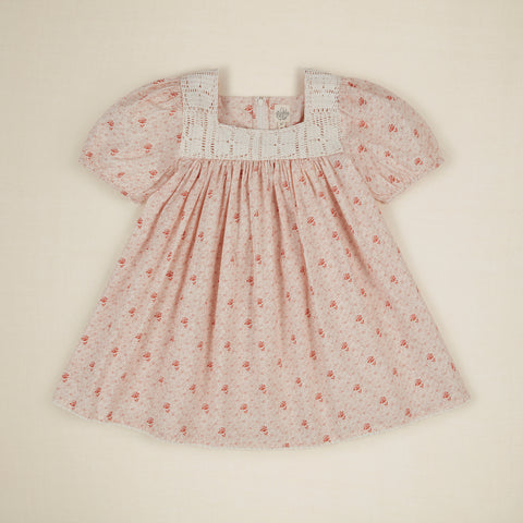 Apolina Tina Kid's Short Sleeve Dress Red Calico Floral | BIEN BIEN bienbienshop.com
