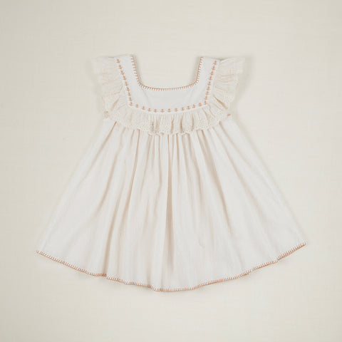 Apolina Tippi Kid's Swiss Dot Ruffle Embroidery Dress Ivory | BIENBIEN www.bienbienshop.com