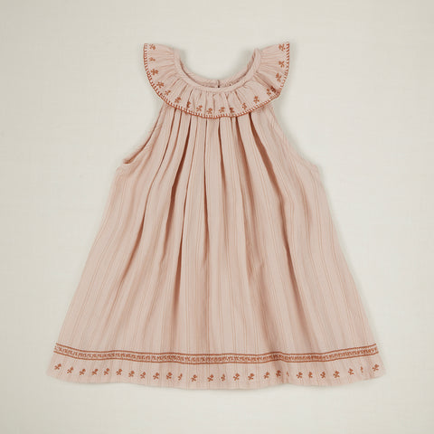 Apolina Winnie Kid's Sleeveless Frill Collar Dress Pink Tea Stripe | BIEN BIEN www.bienbienshop.com