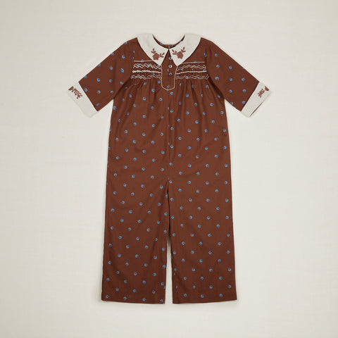 Apolina Minnie Kid's Cotton Jumpsuit Nut Bluegrass Calico | BIEN BIEN www.bienbienshop.com