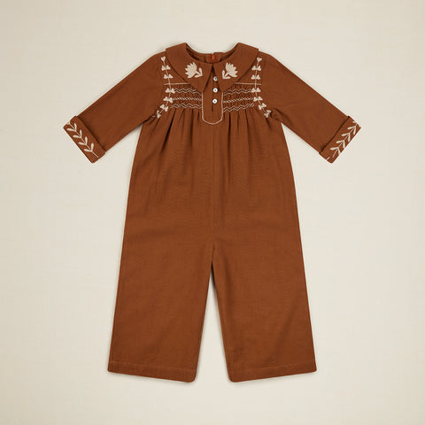 New Apolina Minnie Kid Embroidered Cotton Jumpsuit Tan BIEN BIEN bienbienshop.com