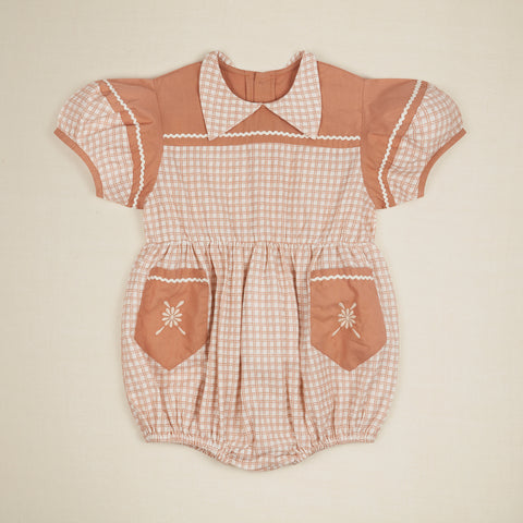 Apolina Nellie Kid's Short Sleeve Romper Picnic Check | BIEN BIEN