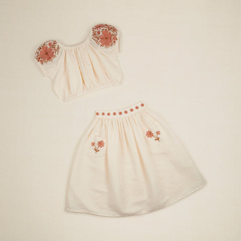 Apolina Velma Kids Embroidered Top & Skirt Set Ivory Linen | BIEN BIEN