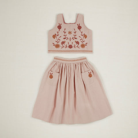 Apolina Erma Kid's Top & Skirt Embroidered Set Pink Sand | BIEN BIEN www.bienbienshop.com