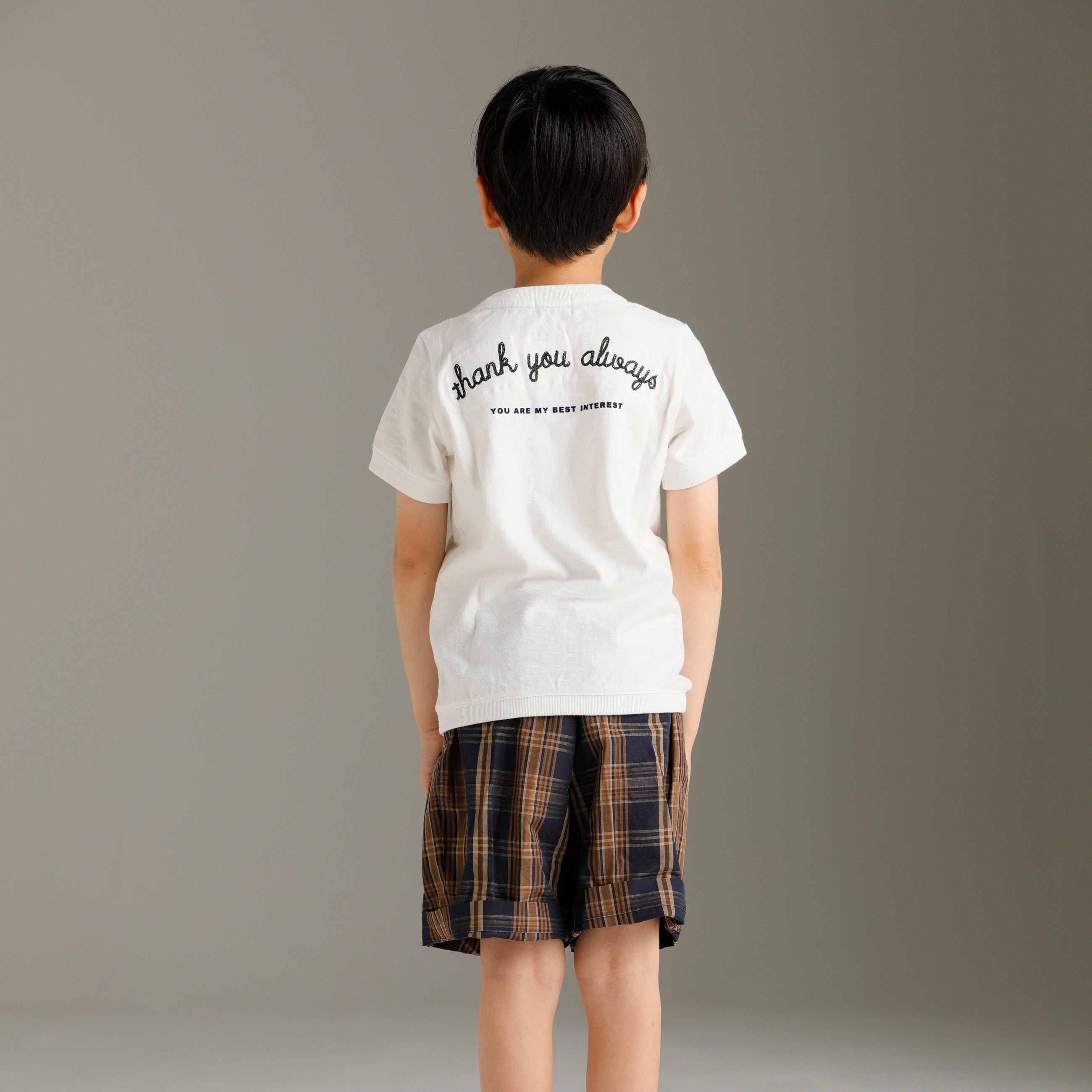 Arch & Line Madras Unisex Kid's Shorts Navy/Brown Check  |  BIEN BIEN www.bienbienshop.com