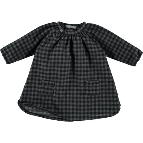 One More in the Family Ariane Baby Girl Dress in Grey Check | BIEN BIEN