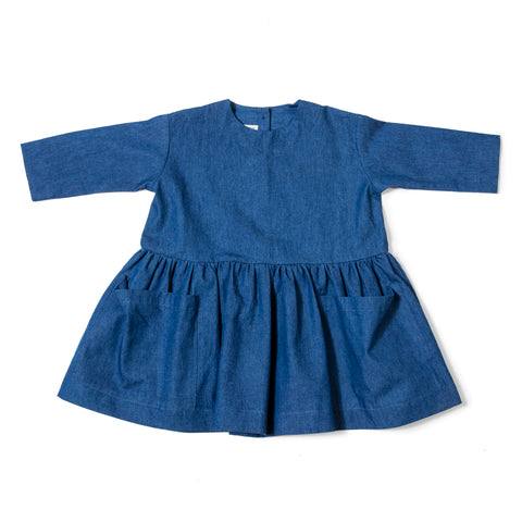 As We Grow Long Sleeve Pocket Dress in Denim Blue | BIEN BIEN