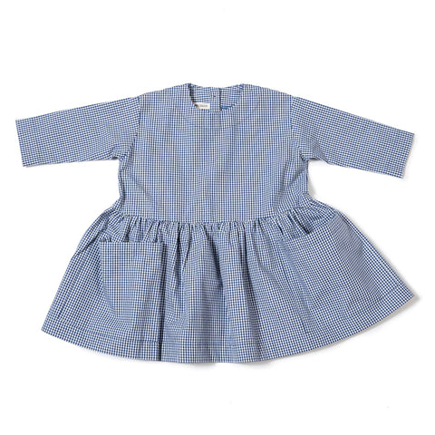 As We Grow Long Sleeve Pocket Dress in Blue Gingham | BIEN BIEN