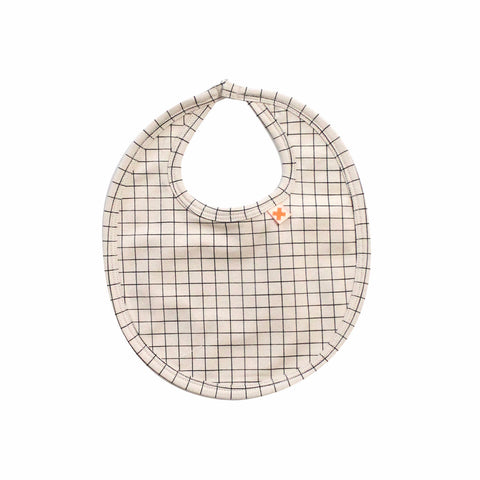 Tiny Cottons Medium Grid Baby Bib Beige/Black | BIEN BIEN