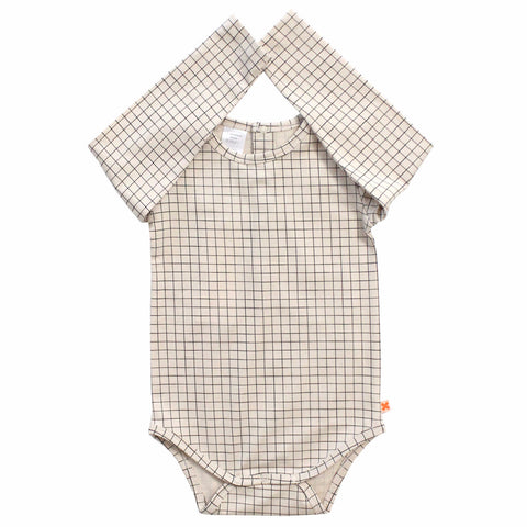 Tiny Cottons Medium Grid Baby Onesie Beige/Black | BIEN BIEN