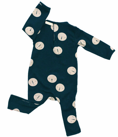 Tiny Cottons Faces Baby One-Piece Navy/Beige | BIEN BIEN