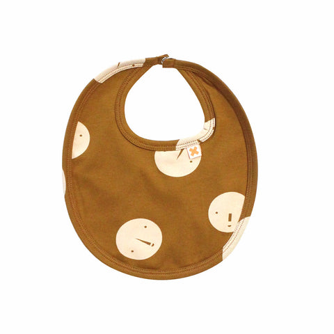 Tiny Cottons Unisex Faces Baby Bib in Brown/Beige | BIEN BIEN