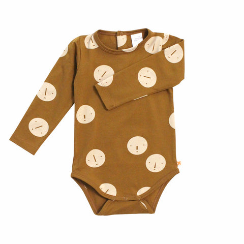 Tiny Cottons Unisex Baby Long Sleeve Onesie Faces Rust | BIEN BIEN