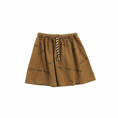 Tiny Cottons Many Words Girl's Woven Skirt in Brown/Beige | BIEN BIEN