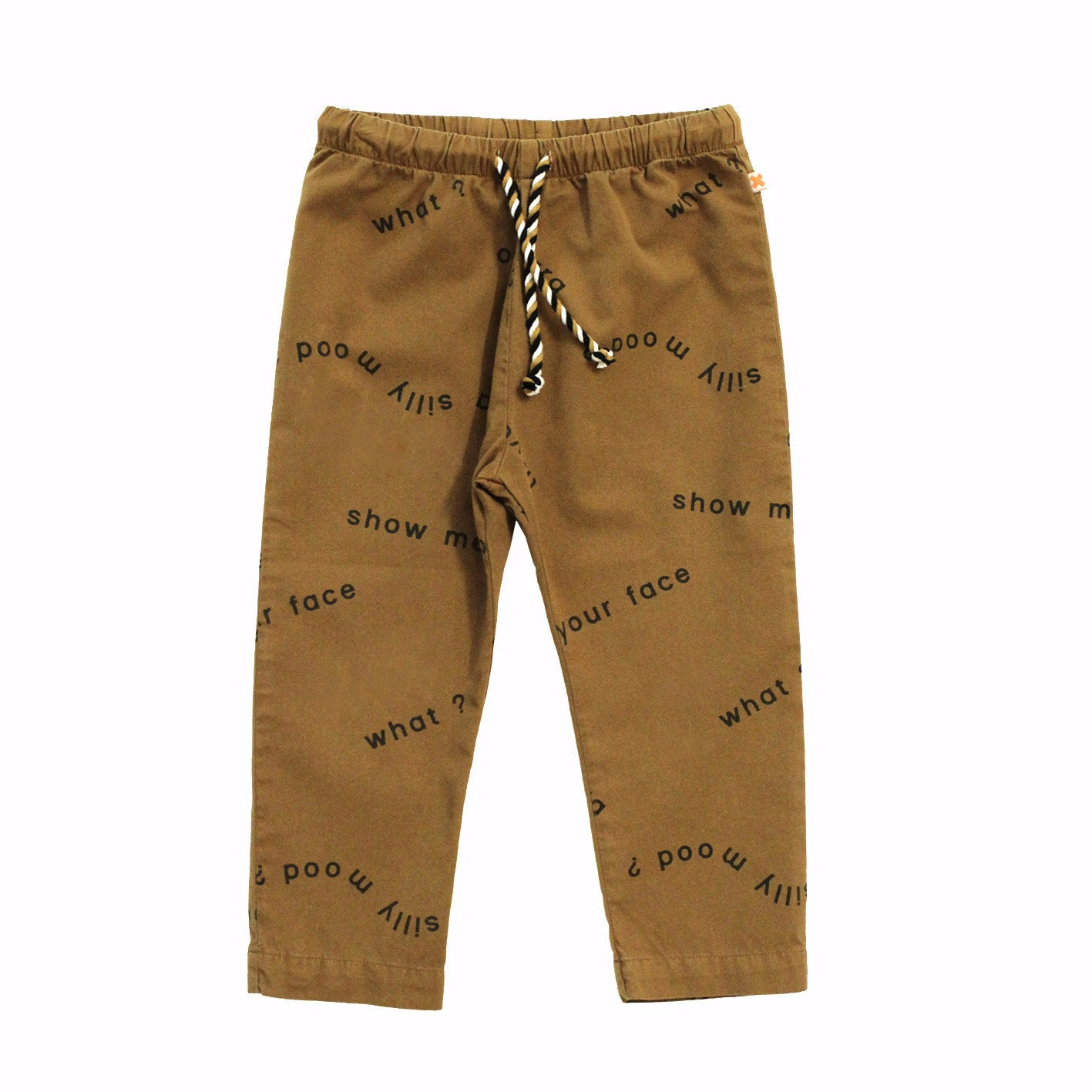 Tiny Cottons Unisex Many Words Woven Pant in Brown/Black | BIEN BIEN