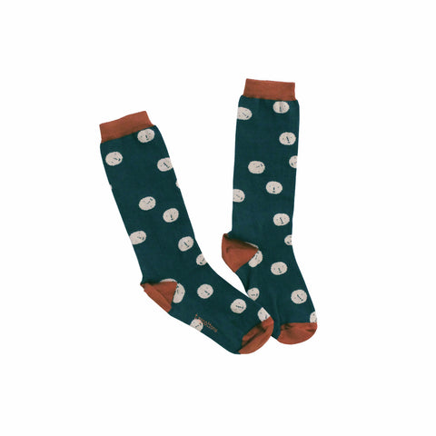 Tiny Cottons Faces Unisex Baby/Kids High Socks in Teal | BIEN BIEN