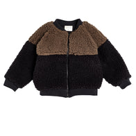 Bacabuche Colorblock Sherpa Baby/Kid's Bomber Jacket Coffee/Black | BIEN BIEN
