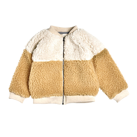 Bacabuche Colorblock Sherpa Baby/Kid Bomber Jacket Milk/Natural | BIEN BIEN