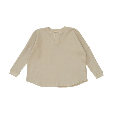 Bacabuche Baby & Kid's Thermal Henley Top Fawn | BIEN BIEN www.bienbienshop.com