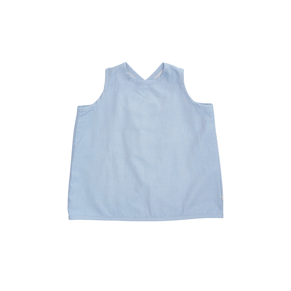 Bacabuche Cross Back Baby & Kid's Tank in Light Denim | BIEN BIEN www.bienbienshop.com