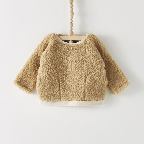 Bacabuche Baby & Kid's Boxy Pullover Sweater in Natural Faux Sherpa | BIEN BIEN